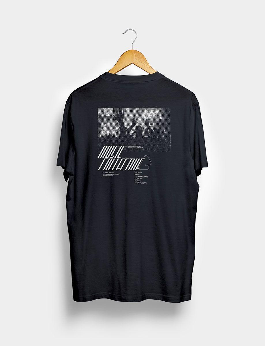 Camiseta Music Collective Negra Trasera