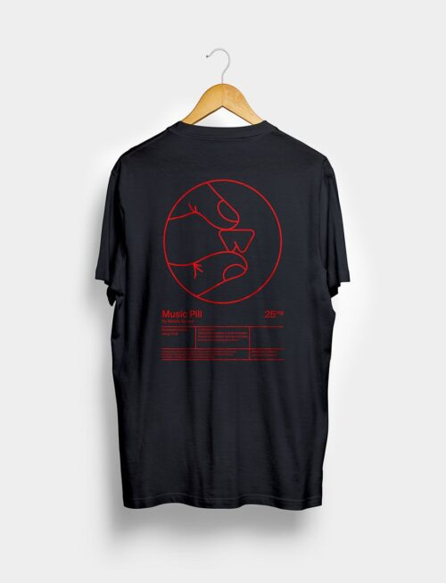 Camiseta Music Pill Negra Trasera