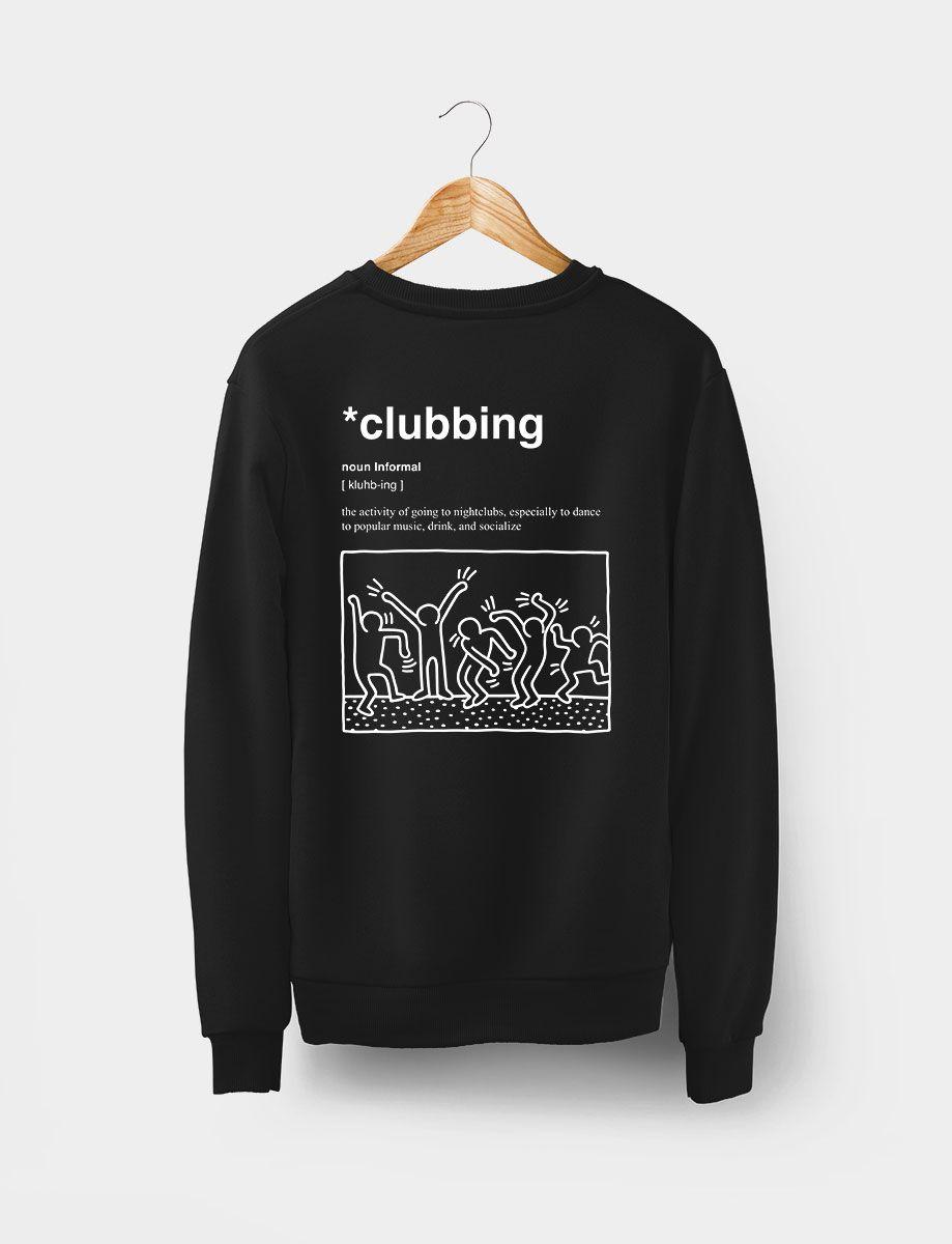 Sudadera Clubbing Sin Gorro Negra Trasera